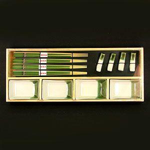 Набор для суши на 4 персоны светло-зеленый в бамбуковой коробке