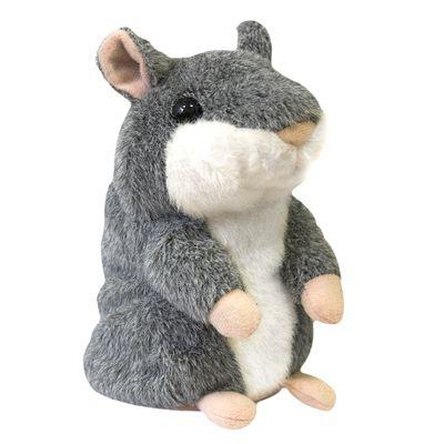 Говорящий хомяк повторюшка Woody OTime серый интерактивный плюшевый