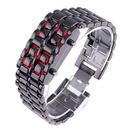 """Led Watch - часы """"Самурай"""" наручные черные с красными диодами"""