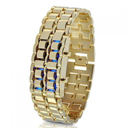 """Led Watch - часы """"Самурай"""" наручные золотые красные диоды"""