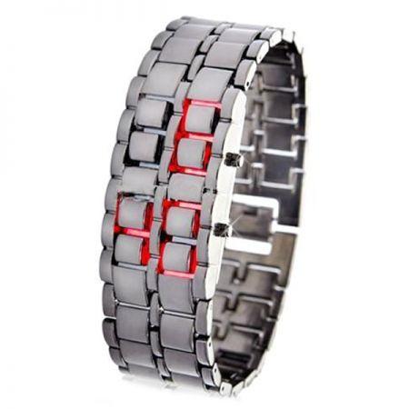 """Led Watch - часы наручные """"Iron samurai"""" серебристые с красными диодами"""