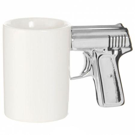 "Кружка ""Пистолет"" бело-серебристая"