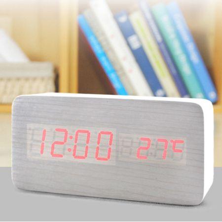 """Часы-будильник """"Прямоугольник"""" 15см с термометром белое дерево красные цифры зв. активация"""