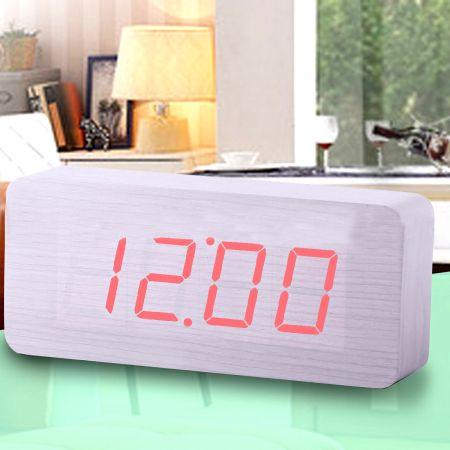 """Часы-будильник """"Прямоугольник"""" большой 21 см. белое дерево красные цифры зв. активация"""