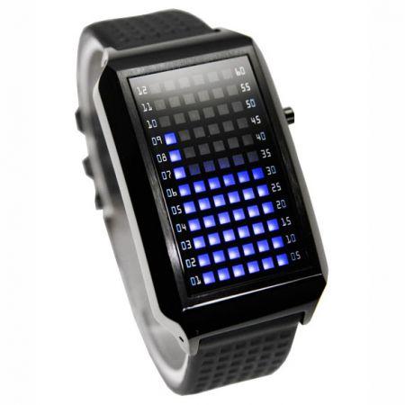 Часы-браслет 72 синих диода черные