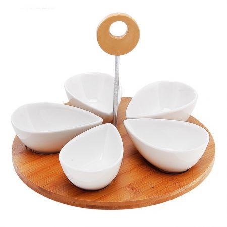 Набор малых салатников 5 предметов декор деревом