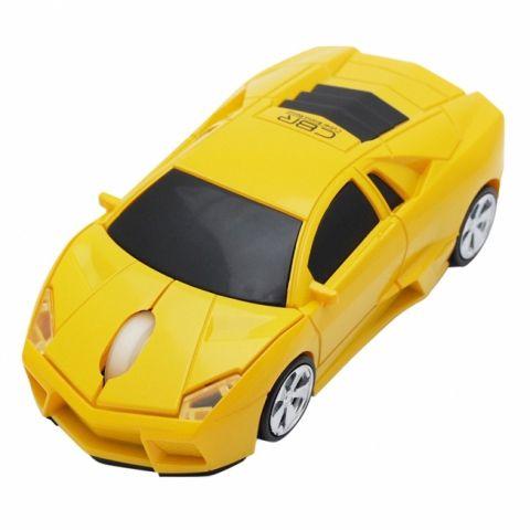 Мышь машинка «Lamborghini» беспроводная сувенирная желтая