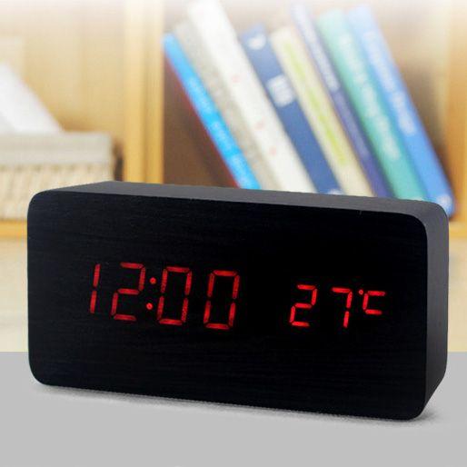 """Часы-будильник """"Прямоугольник"""" 15см с термометром черное дерево красные цифры зв. активация"""