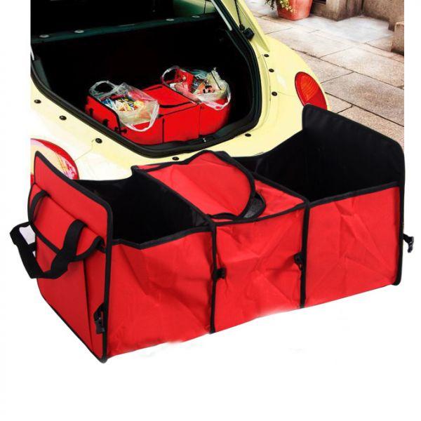 Органайзер - складная сумка с термоотсеком в багажник авто красный
