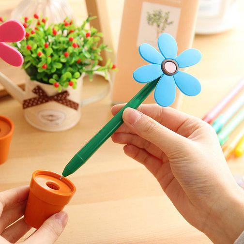 """Ручка """"Цветок"""" в горшке Голубой"""
