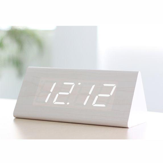 """Часы-будильник """"Пирамида"""" 12 см белое дерево белые цифры зв. активация"""